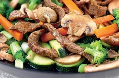 Рецепт дня: говядина с овощами и грибами в wоk