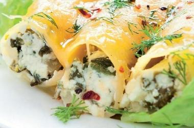 Рецепт дня: каннеллони с сыром и зеленью