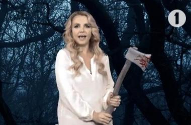 Хэллоуин 2013: Бритни Спирс оседлала метлу и орудует окровавленным топором (видео)