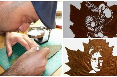 Необычное искусство: картины на… листьях вырезает  художник Омир Асади