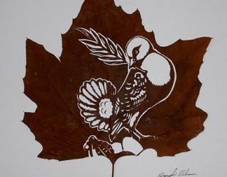 Необычное искусство: картины на листьях от  художника Омира Асади
