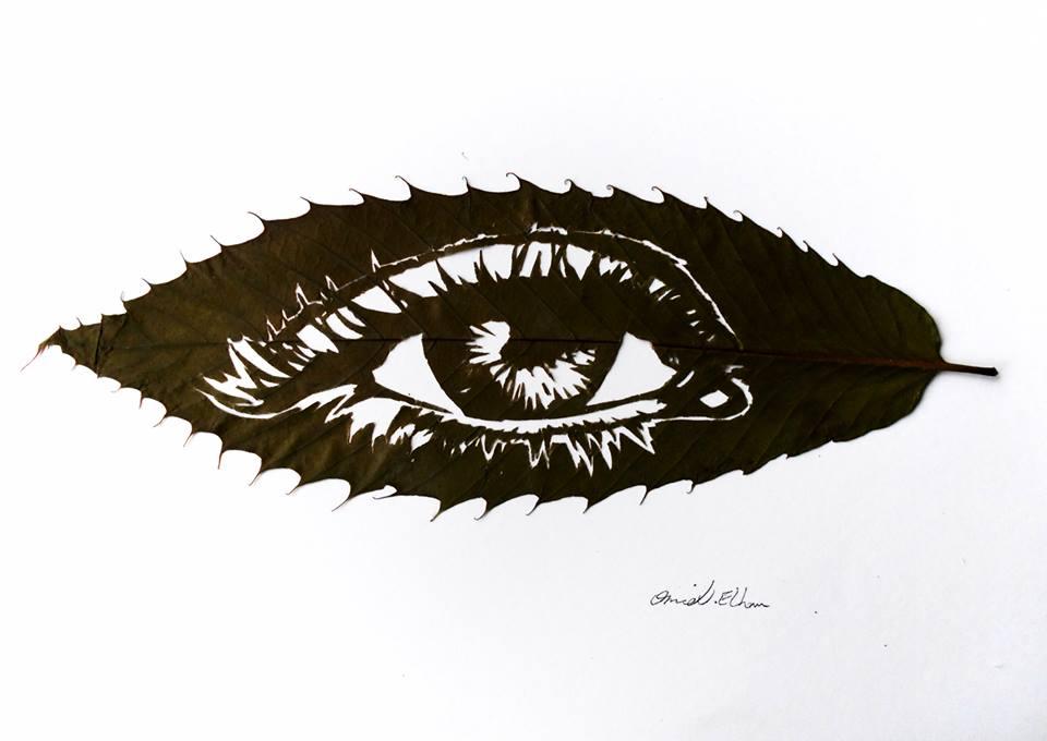 Необычное искусство: картины на… листьях вырезает  художник Омир Асади (фото)