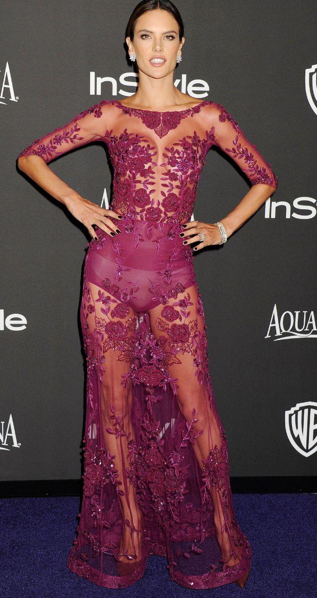 Алессандра Амбросио в прозрачном откровенном платье