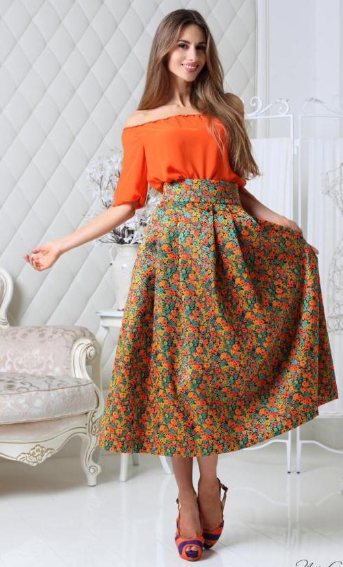 Объемная юбка миди
