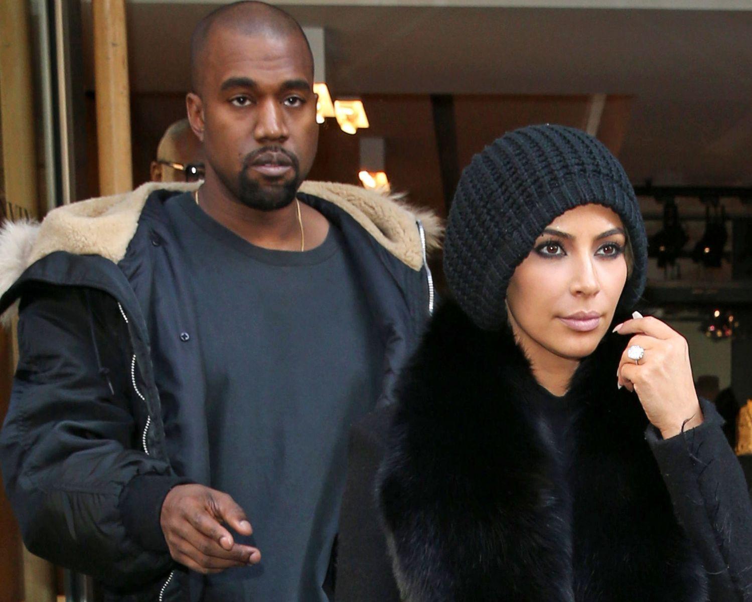 Ким  Кардашьян в черной шапке