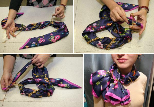 Как сделать из платка на шею розу