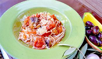 Спагетти с баклажанами, томатами и маслинами: пошаговый рецепт с фото